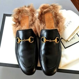 Gucci Princeton Leather Fur Loafers